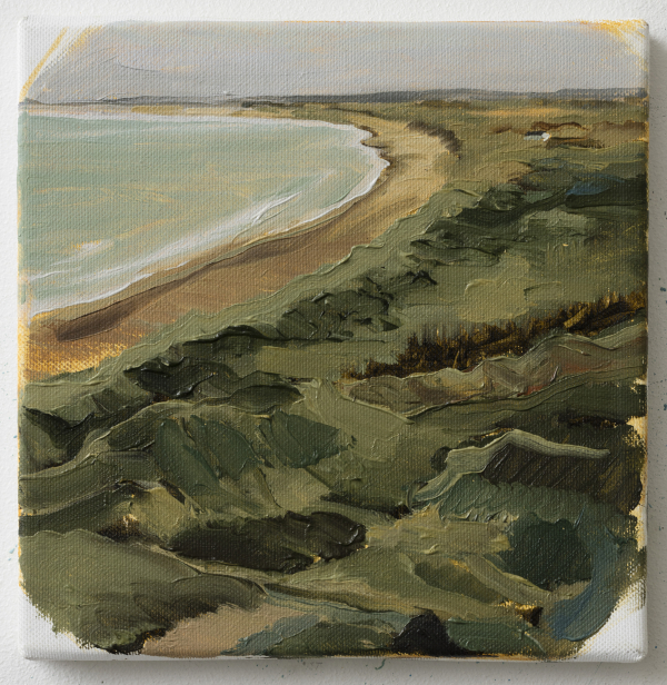 View over Jammerbugten towards Løkken, DK, 2013, Oil on canvas, 20 x 20 cm, private collection
