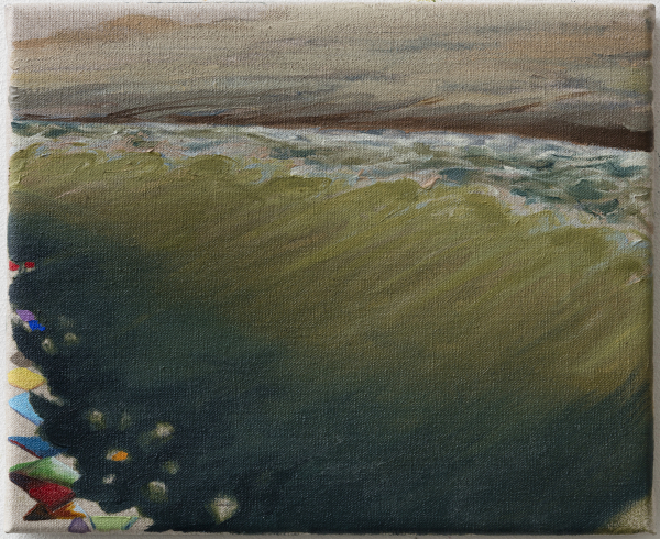 The beach at Svinkløv Badehotel as seen from standing in the ocean, 2015, Oil on canvas w. rabbitglue, 25 x 30 cm, private collection
