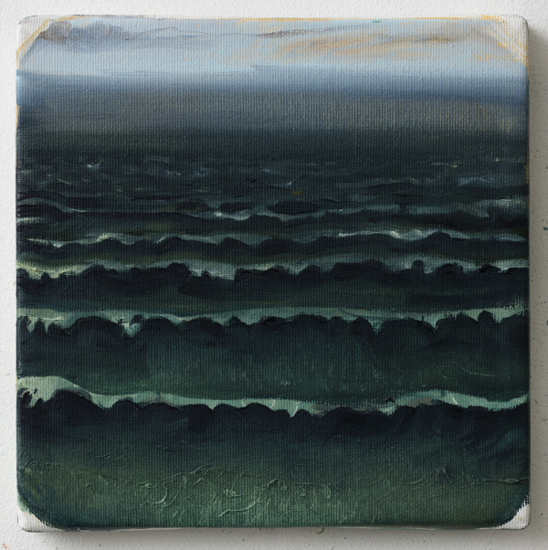 Jammerbugten (waves in the evening), Dk, 2014, Oil on canvas, 20 x 20 cm, private collection