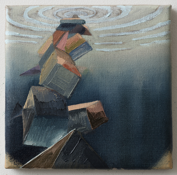 Under the surface of the sea, 2015, oil on canvas w. rabbitglue, 20 x 20 cm, private collection