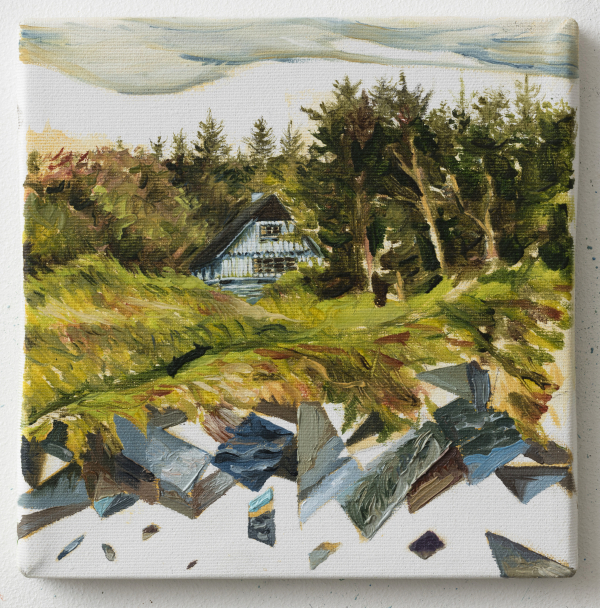 The Chef´s house behind Svinkløv Badehotel, Dk, 2013, Oil on canvas, 20 x 20 cm, Collection of Svinkløv Badehotel