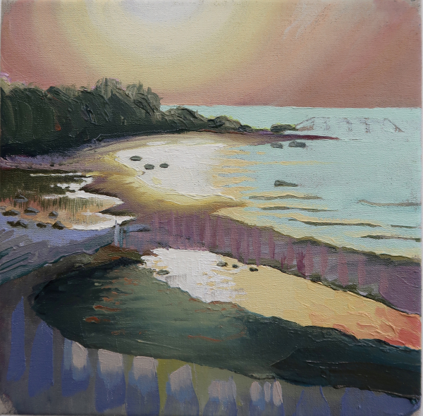 Sunset (Hornbaek, July 18, 2019), 30 x 30 cm, oil on canvas w. rabbitglue, 2019