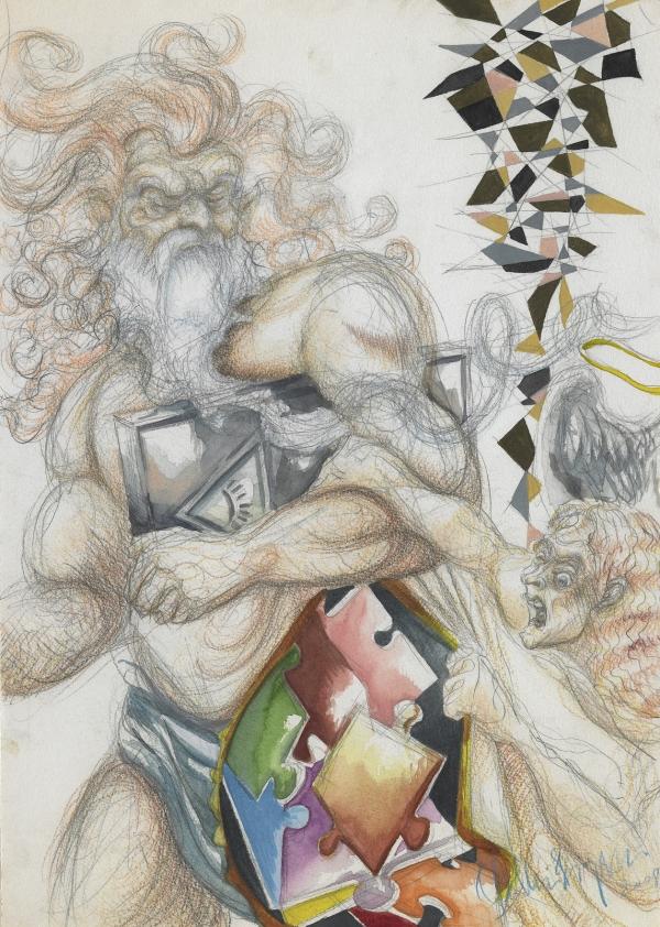 Power, 2009, A3, watercolor, pastel, crayon