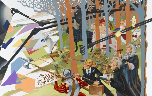 The Hunt Of The Unicorn, 2007, oil on canvas, 180 x 300 cm, private collection