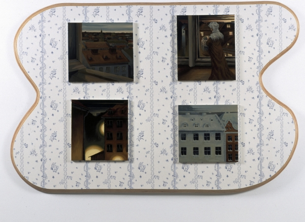 The Modern Breakthrough, 2001, oil paintings on wooden panel with wallpaper, dimensions variable, Malmö Konstmuseum