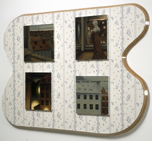 The Modern Breakthrough, 2001,2001, oil paintings on wooden panel with wallpaper, dimensions variable