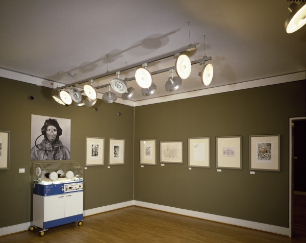 Incubator, installation, and sketches and drawings for Literary Body, Installation view, Statens Museum for Kunst/ Kobberstiksamlingen, 1995