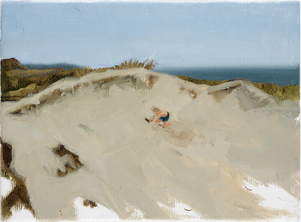 Boy digging in the dunes at Svinkløv Badehotel, DK, 2003, Oil on canvas, 15 x 20 cm, private collection