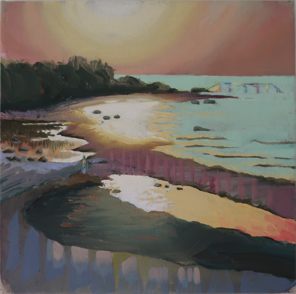 Sunset at Hornbæk Strand, DK, 2019, Oil on canvas w. rabbitglue, 30 x 30 cm, private collection