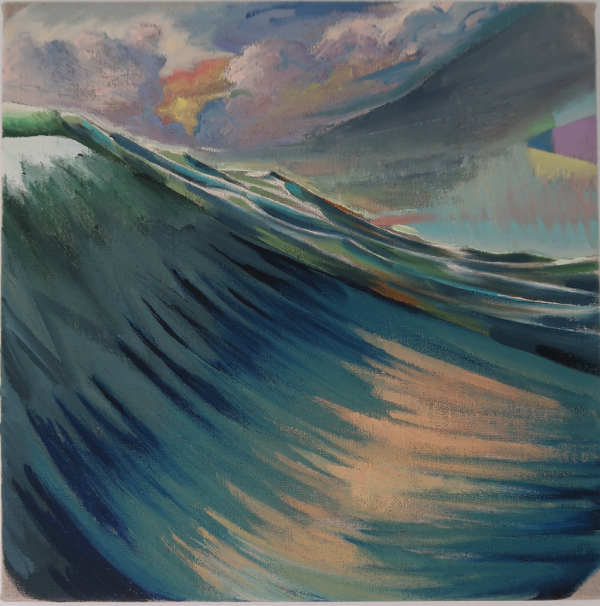 Swell at Hornbæk Old Beach, 2019, Oil on canvas w. rabbitglue, 30 x 30 cm, private collection
